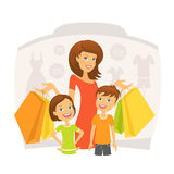 Happy Woman With Children On Shopping Stock Images