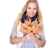 Free Happy Woman With Dry Leaves Royalty Free Stock Photo - 46218455