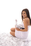 Happy Woman With Lots Of Money Stock Photography