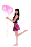 Happy Woman With Three Pink Balloons Royalty Free Stock Photography