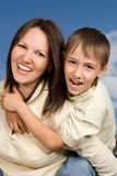 Happy woman woman  with  son Royalty Free Stock Images