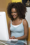 Happy Woman Working On Computer Stock Photo