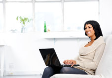 Happy woman working from home Royalty Free Stock Photo