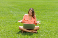Happy woman working with laptop Royalty Free Stock Photo