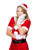 Happy woman with x mas dress and hand touch on face Stock Photography