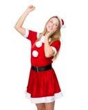 Happy woman with x mas dress Royalty Free Stock Photo