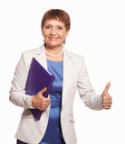 Happy woman 50 years old with a folder for documents. Attractive woman 50 years old with a folder for documents on white background Stock Photography