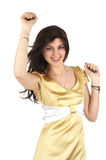 Happy woman in yellow silk dress Royalty Free Stock Photos