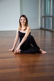 Happy Woman In Yoga Posture Royalty Free Stock Images