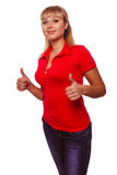 Happy woman young girl shows positive sign thumbs Stock Images