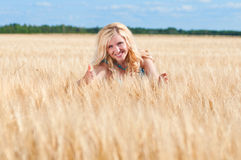 Happy womanin blue dress  in golden wheat Royalty Free Stock Image