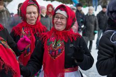 Happy womans plays during Shrovetide. Yoshkar-Ola, Russia - February 2018 happy womans plays during Shrovetide at Russia stock images