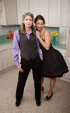 Happy Women. Two happy women standing together in kitchen Royalty Free Stock Images