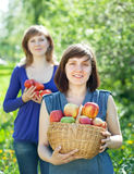 Happy  women with apple harvest Royalty Free Stock Photo