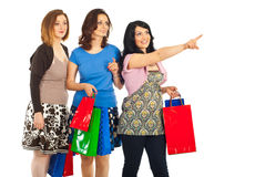 Happy women with bags pointing. Happy women holding shopping bags and pointing away to copy space isolated on white background Stock Image