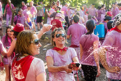 Happy women during Batalla del vino in Haro, La Rioja Royalty Free Stock Photo