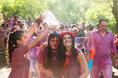 Happy women during Batalla del vino Stock Photography