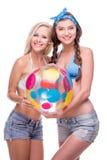 Happy women with beach ball, isolated Stock Photo