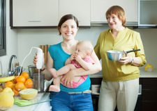 Happy women with blender cooking fruit puree Royalty Free Stock Images
