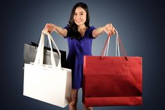 Shopping woman with a shopping bags stock photo