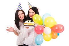 Happy women celebrate birthday Royalty Free Stock Photography