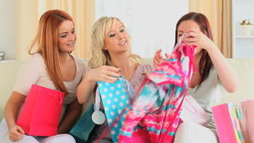 Happy women checking their shopping bags stock video footage