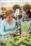 Happy women choosing flowers in greenhouse Stock Photo