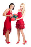 Happy women with Christmas presents Stock Photography