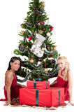 Happy women with Christmas presents Stock Images