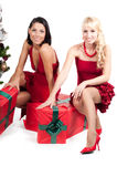 Happy women with Christmas presents Royalty Free Stock Photography