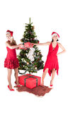 Happy women with Christmas presents Royalty Free Stock Photo