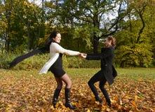 Happy women dancing Stock Image