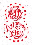 Happy Women Day on 8 March. Hand drawn lettering. Illustration for greeting card vector illustration