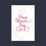 Happy women Day. Abstract women day card on a black background Royalty Free Stock Photography
