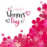 Happy Women Day Background With Pink Flowers And Lettering Calligraphy 8 March Holiday Card. Vector Illustration Stock Images
