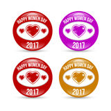 Happy Women day badge set. Happy Women day colored badge set with shadow Royalty Free Stock Photos