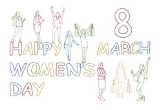 Happy Women Day Concept 8 March Doodle Silhouette Girls Group Holding Gift Boxes And Shopping Bags. Vector Illustration Stock Photos