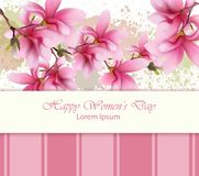 Happy women day flowers card Vector. Watercolor delicate floral template. Lovely greeting vintage splash backgrounds. Happy women day flowers card Vector Royalty Free Stock Image