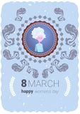 Happy Women Day Greeting Card With Cute Grandmother 8 March Holiday Concept. Flat Vector Illustration Royalty Free Stock Images