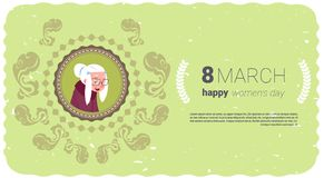 Happy Women Day Greeting Card With Cute Senior Lady Over Template Background 8 March Holiday Concept. Flat Vector Illustration Royalty Free Stock Photography