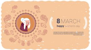 Happy Women Day Greeting Card With Grandmother Over Template Backgrond 8 March Holiday Concept. Flat Vector Illustration Stock Photos