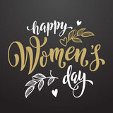 Happy Women Day greeting card lettering hearts pattern background. Women Day greeting card text calligraphy and hearts. Lettering for 8 March Woman holiday Stock Photos