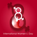 Happy Women day greeting card on red background Royalty Free Stock Photo