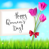 Happy women day, greetings card. Pink tulips on the blue summer sky backdrop. Green grass and white clouds. Hand-drawn Royalty Free Stock Photo