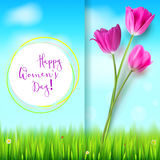 Happy women day, greetings card. Pink tulips on the blue summer sky backdrop. Green grass and white clouds. Hand-drawn Stock Photography