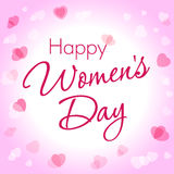 Happy Women Day hearts greeting card template. Happy Women Day lettering 8 March on light pink hearts background Stock Images