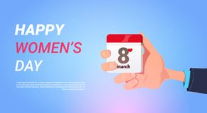 Happy Women Day Holiday Banner Man Hand Hold Calendar With 8 March Concept. Flat Vector Illustration royalty free illustration