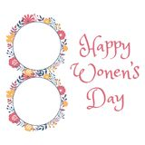 Happy women day holiday greeting card design Stock Photos