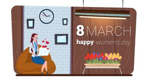 Happy Women Day 8 March Concept Girl Using Laptop Computer Messaging. Flat Vector Illustration vector illustration