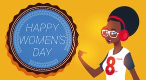 Happy Women Day 8 March Greeting Card With Modern African American Girl. Flat Vector Illustration Stock Illustration